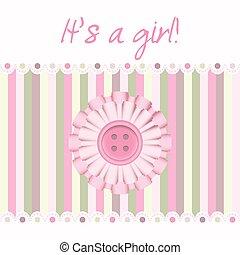 różowy, niemowlę, karta