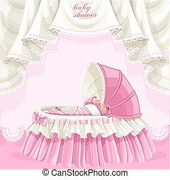 różowy, niemowlę przelotny deszcz, karta