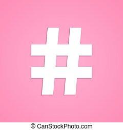 różowy, odizolowany, tło, hashtag, biały, ikona