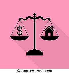 różowy, płaski, styl, dom, symbol, dolar, tło., czarnoskóry, ścieżka, cień, skalpy., ikona