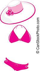 różowy, pływacki dostosowują, i, plażowy kapelusz