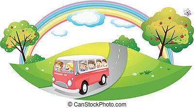 różowy, pasażerowie, autobus