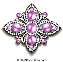 różowy, perły, broszka, ilustracja, srebro