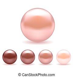 różowy, perły