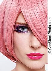 różowy, peruka