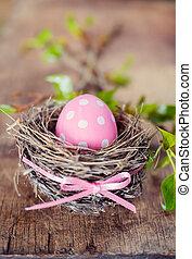 różowy, pisanka, w, gniazdo