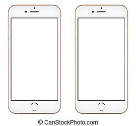 różowy, podobny, złoty, ruchomy, ekran, nowoczesny, odizolowany, telefon, iphone, tło, czysty, przód, biały, mądry, prospekt