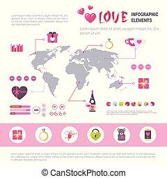 różowy, pojęcie, miłość, ikony, na, list miłosny, infographic, tło, komplet, szablon, chorągiew, dzień