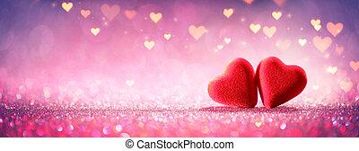 różowy, pojęcie, valentine, blask, -, dwa, tło, serca, błyszczący, dzień