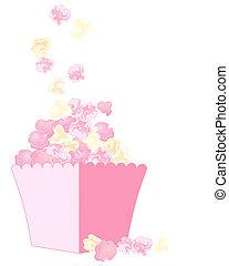różowy, popcorn