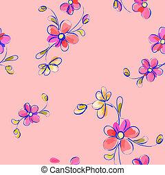 różowy, próbka, kwiaty, seamless
