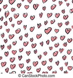 różowy, próbka, seamless, ręka, pociągnięty, serca