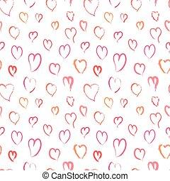 różowy, próbka, seamless, ręka, serca, pociągnięty