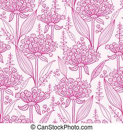 różowy, próbka, seamless, tło, lillies, lineart