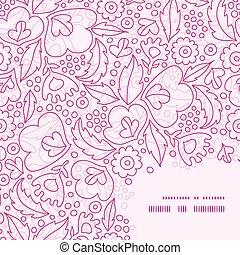 różowy, próbka, ułożyć, wektor, tło, róg, lineart, kwiaty