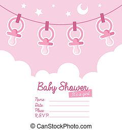 różowy, przelotny deszcz, tatuś, niemowlę, zaproszenie