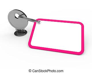 różowy, przywiązany, klucz, 3d