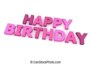 różowy, purpurowy, urodziny, szczęśliwy