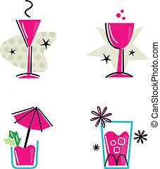 różowy, retro, pije, zbiór, odizolowany, na białym