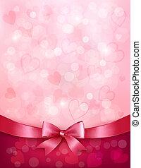 różowy, ribbon., dar, list miłosny, łuk, day., wektor, tło,...