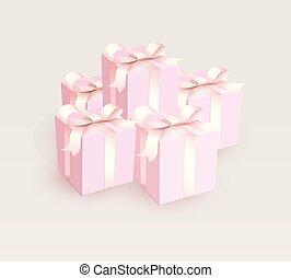 różowy, ribbon., magia, illustration., dar boksuje, wektor, zamknięty, ślub, konserwator, prospekt., dziewczyna, satyna, bok, piękny
