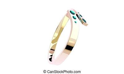 różowy, ring, złoty