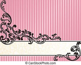 różowy, romantyk, francuski, retro, poziomy, chorągiew