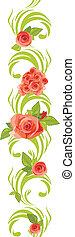 różowy, roses., brzeg, rozkwiecony