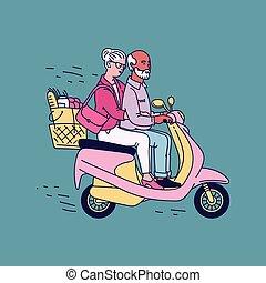różowy, rysunek, stary, para, człowiek, hulajnoga, -, starsza kobieta, jeżdżenie