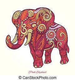 różowy, słoń, ozdoba, ilustracja, wektor, etniczny
