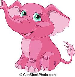różowy, słoń