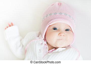 różowy, słodki, trykotowy, dziewczyna niemowlęcia, kapelusz