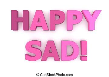 różowy, sad!, purpurowy, szczęśliwy