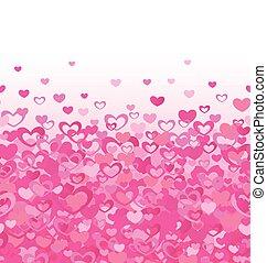 różowy, serca, abstrakcyjny, list miłosny, tło