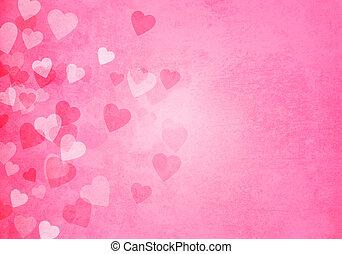różowy, serca, dzień, tło, valentine