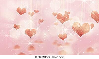 różowy, serca, zwisając, smyczki