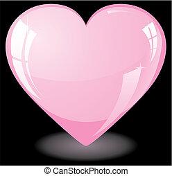 różowy, serce, blask