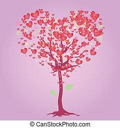różowy, serce, drzewo