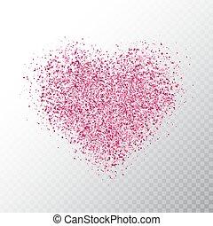różowy, serce, dust., heart., chorągiew, particles., magia, odizolowany, ilustracja, jarzący się, tło., jasny, wektor, luksus, iskierki, gwiazda, święto, blask, przeźroczysty, design.