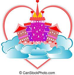 różowy, serce, fairytale, niebo, magiczny, zamek