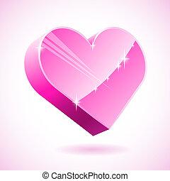 różowy, serce, illustration., szkło, wektor, 3d
