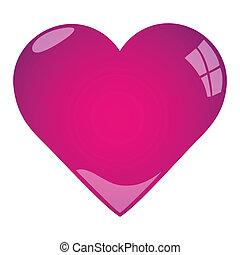 różowy, serce, ilustracja