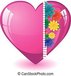 różowy, serce, ilustracja, valentine, kwiaty, wektor, tło