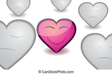 różowy, serce, ilustracja, valentine, wektor, appreciable, tło