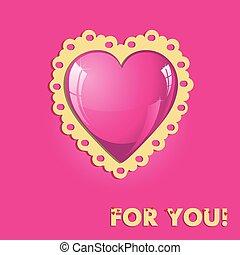 różowy, serce, karta, valentine