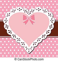 różowy, serce, koronka