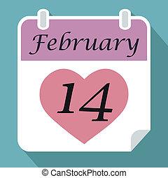 różowy, serce, luty, pojęcie, cień, czternasty, płaski, prosty, list miłosny, błękitny, wektor, tło, data, kalendarz, dzień, czerwony, ikona