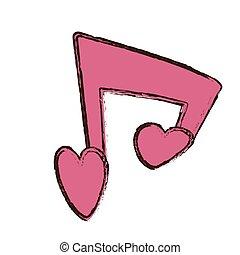 różowy, serce, miłość, valentine, nuta, muzyczny, dzień