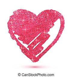 różowy, serce, odizolowany, biały, blask, lustrzany