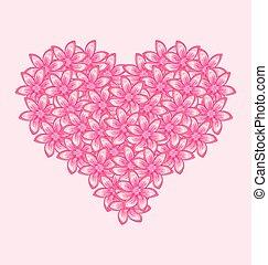 różowy, serce, robiony, romantyk, valentine, kwiaty, dzień